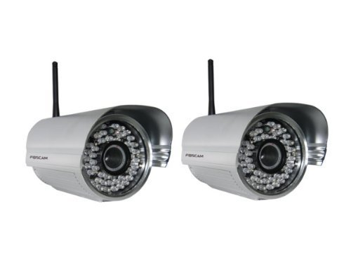 2 Pack - Foscam FI8905W Outdoor Wireless/Wired IP Camera Waterproof with 30 Meter Night Vision and 6mm Lens (42� Viewing Angle)- Silver