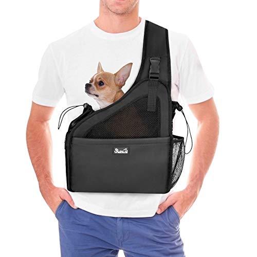 Eyein Portabebés para perros, manos libres, bolsa de viaje para mascotas pequeñas, con correas ajustables, base de cartón duro, cinturón de seguridad, transpirable, apoyable, lavable a máquina
