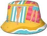 Summer Beach Flat Top Unisex Sombrero de Pescador Gorras al Aire Libre para Viajes Playa Protección Solar Gorra de Pescador Campamento de Verano Sombrero de Cubo Sombrero de Pescador de Verano