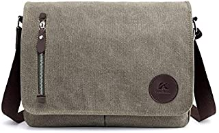 DIEBELLAU Men's Bag Canvas Bag Casual Shoulder Bag Messenger Bag (Color : Army Green)