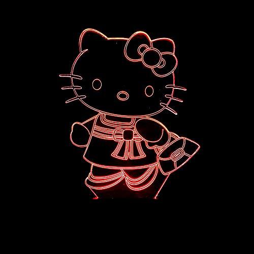 LED nachtlampje 3D illusie 7 kleuren verloop kat bed decoratie kleine tafellamp verjaardagskaart kinderen cadeau