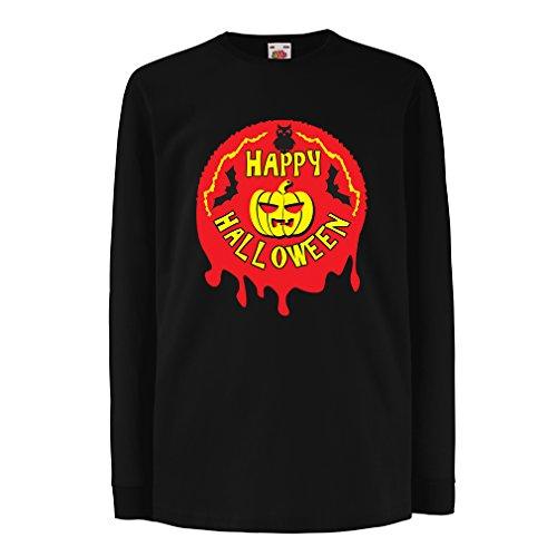 Camisetas de Manga Larga para Niño Happy Halloween! - Party Clothes - Pumpkins, Owls, Bats (3-4 Years Negro Multicolor)