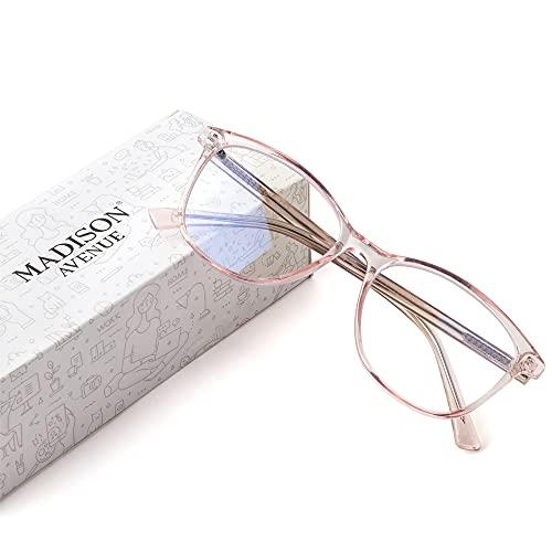 Madison Avenue Blue Light Blocking Glasses Anti Eyestrain UV Glare Blue Light Glasses for Women TV Phone Computer Gaming Eyeglasses (Crystal Brown)