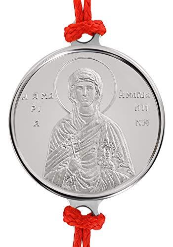 Pulsera artesanal de hilo rojo con delicada medalla en plata religiosa Santa María Magdalena 0.04 oz. Talla única con Sistema de Nudo corredizo.