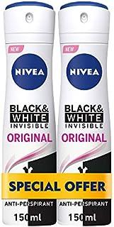 NIVEA, Deodorant Female, Invisible Black & White, Original, Spray, 2 x 150ml