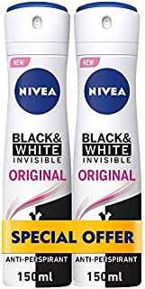NIVEA, Deodorant Female, Invisible Black & White, Original, Spray, 2 x 150ml
