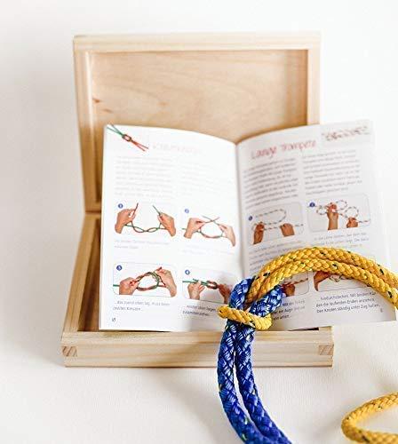 Knoten üben Lernbox Kiefer Holzbox Klampe Seil Anleitung Knotenschule Geschenk Idee Handmade in Berlin
