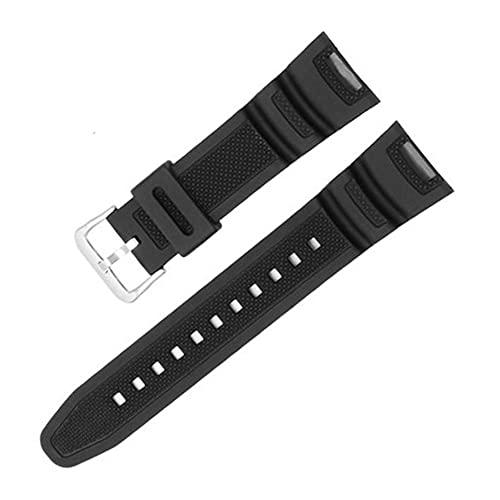 HANRUO Correa impermeable de goma de silicona negra para relojes inteligentes, accesorios de pulsera (color de la correa: negro y plateado)
