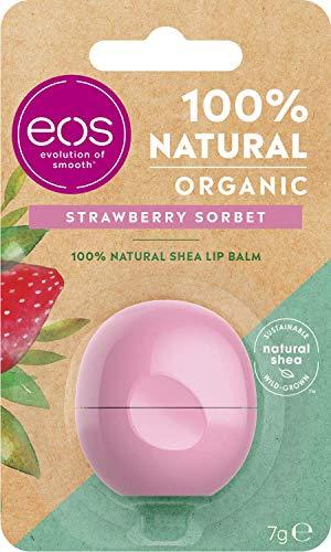eos Organic Strawberry Sorbet Lip Balm, feuchtigkeitsspendende Lippenpflege, mit fruchtigem Erdbeer Geschmack, für weiche Lippen, mit natürlicher Sheabutter, 7 g