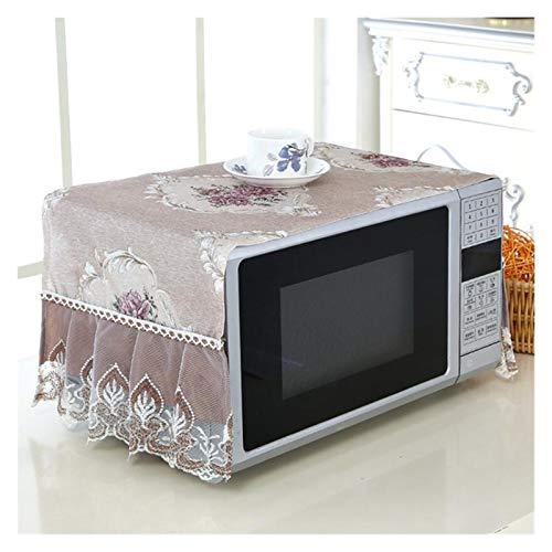 JINAN Housse de protection anti-poussière pour four à micro-ondes en dentelle - Résistant à l'usure et à la poussière - Décoration de cuisine durable (couleur : marron)