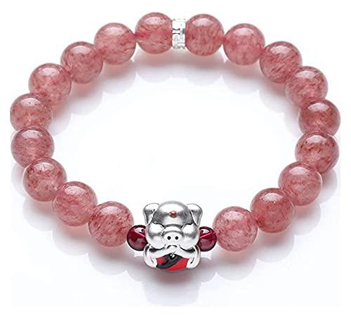 AnimeFiG 999 Puro Plata Natural Fresa Cristal Afortunado hongfu Cerdo 8mm Feng Shui Pulsera Afortunado Afortunado Encanto para atraer Dinero Amor Hombre/Mujer