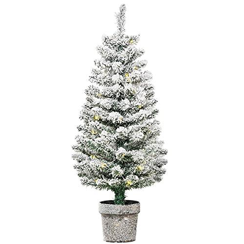 HOMCOM Árbol de Navidad Pequeño Artificial 90 cm con Luces LED 116 Ramas Maceta Desmontable y...