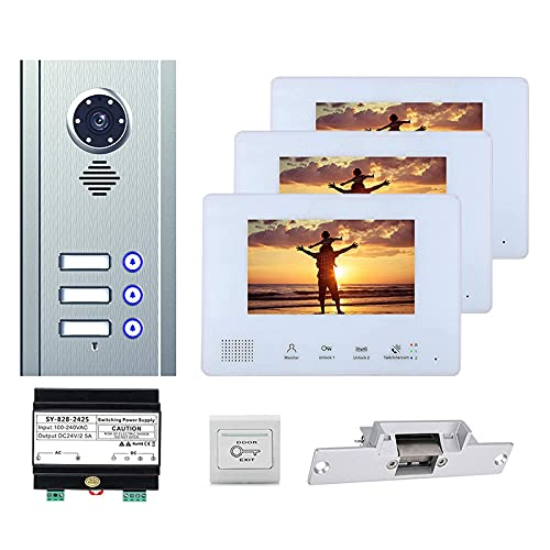 BJH Timbre de Video de 7 Pulgadas, videoportero de vigilancia de Seguridad para el hogar, intercomunicador, cámara + 3s + Cerradura de Puerta electrónica