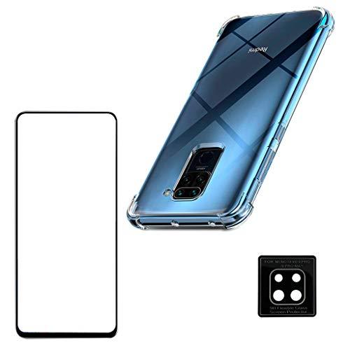 Kit Capa Anti Queda Xiaomi Redmi Note 9 + Película 3D Vidro + Película Nano Flexível Câmera