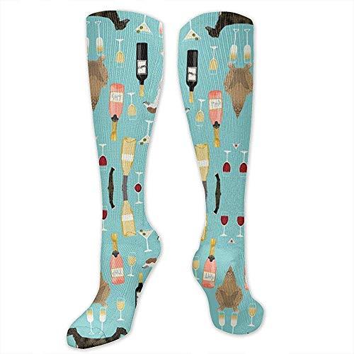 zzzswbl Calf Sock Windhunde Und Wein Athletic Socks Fashion Schenkel Hohe Strümpfe Sport Compression Casual Sports Crew Tube Socks