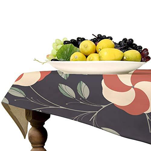 Mantel rectangular de lino con flores y hojas de hibisco para mesa de cocina, comedor, decoración de mesa, 53 x 71 pulgadas