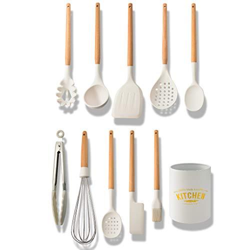 Juego de utensilios de cocina de silicona, 12 piezas, con cuchara, espátula, espátula y recipiente de almacenamiento, juego de utensilios de cocina
