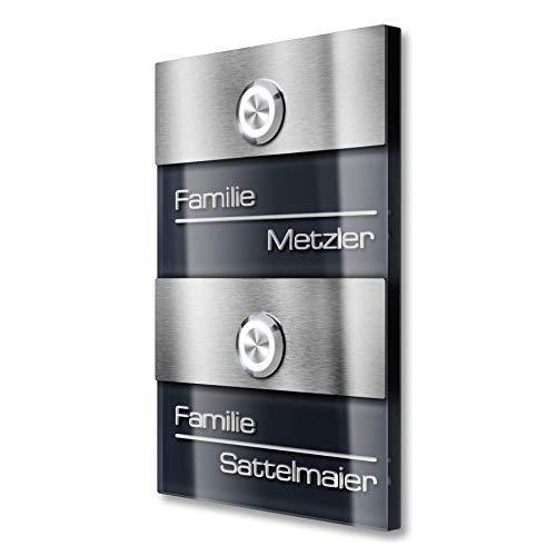 Dubbele deurbel voor meergezinswoningen – gravureservice – led-knop (verschillende kleuren naar keuze) – inbouwmontage.