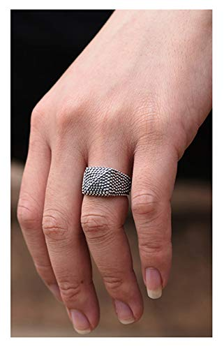Men's Ring, S925 Silver Opening Adjustable Black Wide Ring, Wedding Engagement Jewelry, Father's Boyfriend Gift Ring