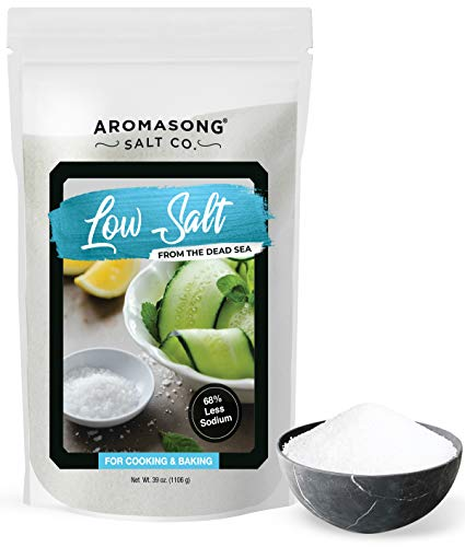 AROMASONG Diamond LOW SODIUM Sea salt 2.43 LBS, 68% Less Sodium, Fine Grain, Combination of Dead sea potassium chloride & Dead sea salt Used as Table salt Substitute