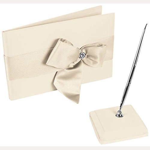 David's Bridal Regal Ties Guest Book and Pen Set Style DB75GBP, Ivory/Ivory