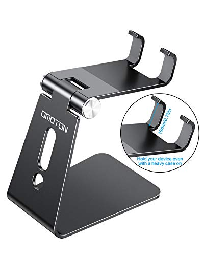 Adjustable Cell Phone Stand, OMOTON Aluminum Desktop Cellphone Stand with Anti-Slip Base and Convenient Charging Port… 4 41btpJpgjaL