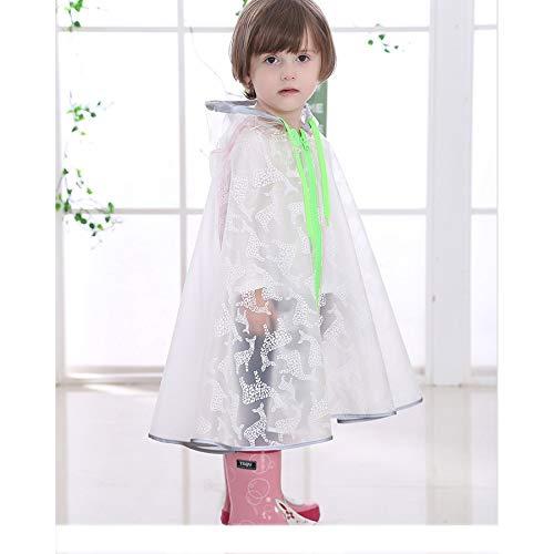YXNN Waterdichte Mantel voor kinderen - Doorschijnende Regenjas met hoed Rits Ontwerp Poncho PU Regenjas Waterdichte Trench Coat Printing Regenjas