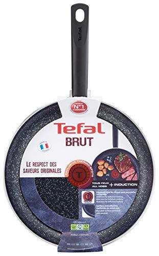 Tefal Brut - Sarten de aluminio, recubrimiento antiadherente reforzado con minerales, apta para todo tipo de cocinas e inducción, indicador de calor Thermo-Spot - Fabricada en Francia