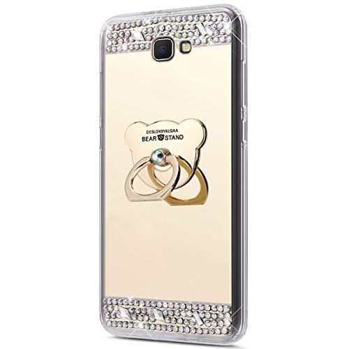 Jinghuash Compatible avec Samsung Galaxy J5 Prime Coque,Miroir Housse Paillette Brillante Strass avec Ours 360 Rotation Bague Support Ultra Mince TPU Silicone Anti-Choc Miroir Coque Etui-d'or