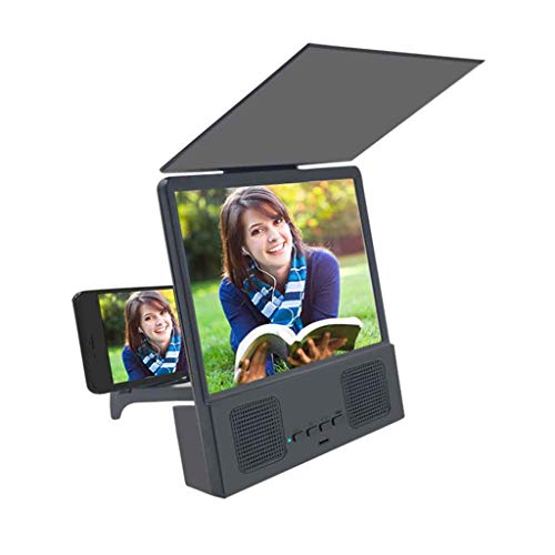 """BEFOKA 12"""" 3D Phone Screen Magnifier with Bluetooth Speaker, HD Screen Amplifier Projector Cell Phone Screen Enlarger with Foldable Stand Baffle and Data Line for All Smartphones (Black)"""