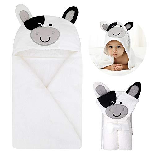 Baby Badetücher Baumwolle für Baby Mädchen und Jungen Handtuch mit Kapuze weiches Kapuzenhandtuch Badetuch mit niedlichen Ohren für Babybaden Weiss