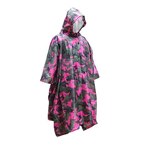 Générique Non-Brand Camo Red Hooded VÊTEMENT IMPERMÉABLE Poncho Manteau De Pluie Veste Chasse