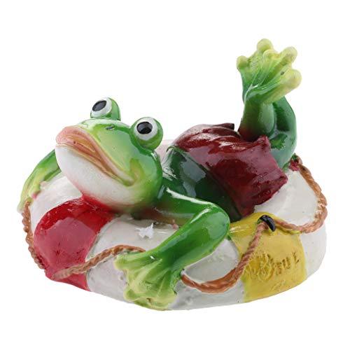D DOLITY Schwimmfrosch auf Blatt Schwimmtier Grten Teich Deko, Schildkröte in verschiedenen Bildung - D# Rettungsring Frosch