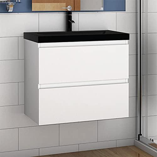 Aica Sanitär Badmöbel Set 60 cm Aalst Vormontieren Unterschrank Waschbecken Schwarz, Waschtisch Weiß