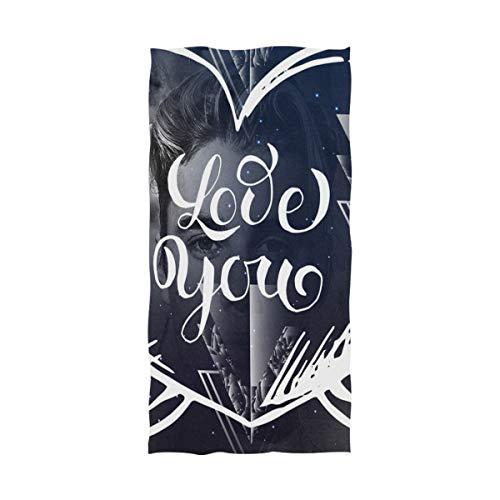 Toalla de playa DXG1 Love You Galaxy Heart Toalla de baño de microfibra para adultos y hombres, de gran tamaño 81 x 64 pulgadas