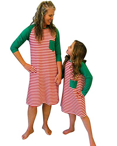 Christmas Casual Mother Daughter Winter Red Striped Maxi Dress Family Matching Pajamas Nightgown Dress (Red Mother,US M(Tag L))