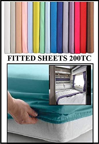 Bedtime Comforts Ltd - Lenzuolo con angoli, per letto matrimoniale piccolo, 120 x 190 cm, in policotone, oltre 22 colori, 200 fili, Cotone, Lilla., 6' Depth