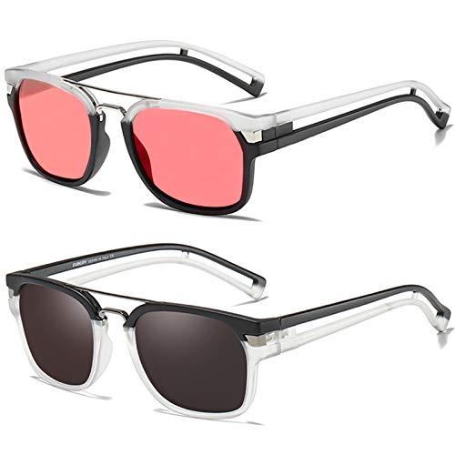 SHEEN KELLY 3PCS Gafas de sol Neymar polarizadas para hombres Mujeres Gafas de sol retro Gafas de sol Tony stark Gafas de sol Iron Man + rojo