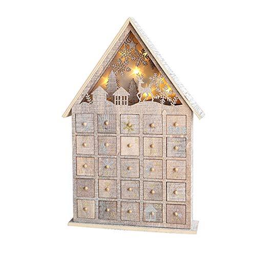 LSS Casa de Nieve Brillante de Madera del Calendario de Navidad, Casa de Nieve Brillante de Calendario de Adviento con 25 armarios, Adecuado para árbol de Navidad, decoración de Escritorio