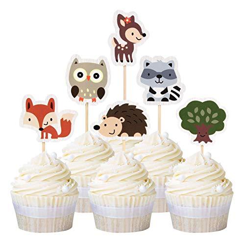 Unimall Global 24 Piece Jungle Animal Cupcake Toppers Forest Creatures Safari Theme Cupcake Picks Baby Shower Kids Birthday Safari Party Cake Decoration