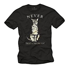 MAKAYA Camisetas con Gatos - Never Trust a Smiling Cat