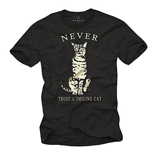 MAKAYA Camisetas con Gatos - Never Trust a Smiling Cat - Hombre Negra XXL