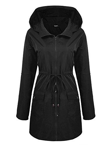 Zeagoo Womens Lightweight Long Windbreaker Hooded Waterproof Active Outdoor Rain Jacket,Black,XX-Large