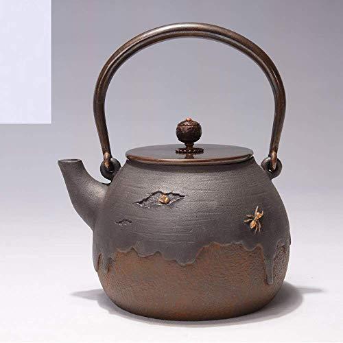 ZKAIAI Porcelain Tea Maker Cast Iron Iron Ants On The Tree Iron Pot Imitation Japanese Cast Iron Pot Old Iron Pot Raw Iron Pot Uncoated Tea Kettle 1.4L Afternoon Tea