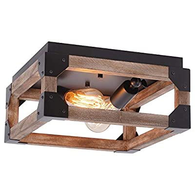 Eyassi Wooden Farmhouse Ceiling Light, 2-Lights Flush Mount Close to Ceiling lamp Wood Industrial Lighting Fixtures for Living Room Kitchen Island Bedroom Hallway Entryway Closet Office Laundry
