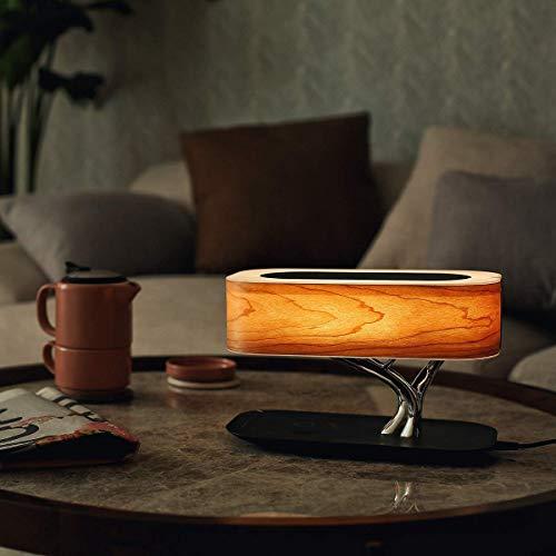 Lám mesa LED Cargador inalámbrico Bedsi Lámcon altavoces Bluetooth y cargador inalámbrico Modo suspensión Lám escritorio regulable continua Cargador inalámbrico Compatible con todas las series Apple