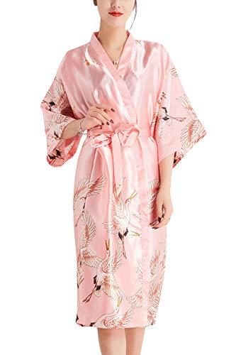 YAOMEI Kimono Albornoz para Mujer, Satín Grua Camisón Robe Albornoz Novia Dama de Honor Ropa de Dormir Pijama, para SPA Hotel Sauna con Bolsillo (Medium, Rosado)