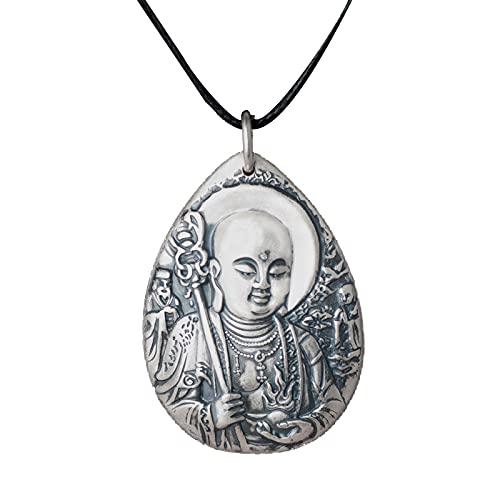 Buddha Colgante Collar Colgante Bodhisattva Ksitigarbha Amulet Hombre Plata De Ley 999 Plata Hombres Y Mujeres Retro Regalo Ideal Jewelle
