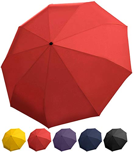 Red Umbrella - Windproof Travel Umbrella with Teflon Coating, Collapsible and Compact Umbrella Perfect for Any Purse or Backpack
