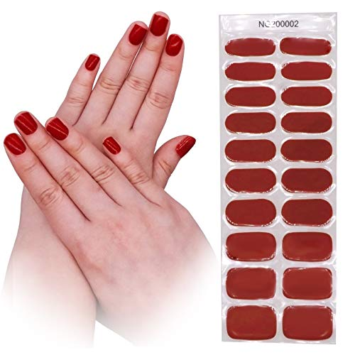 Semi Cured Gel Nail - 20 Stickers Nail Gel Polish Strips - No Chip Gel Nail Stickers for Women, Brighter, Stabler and Long Lasting, Idea Gift for Yourself , Sisters, Mothers